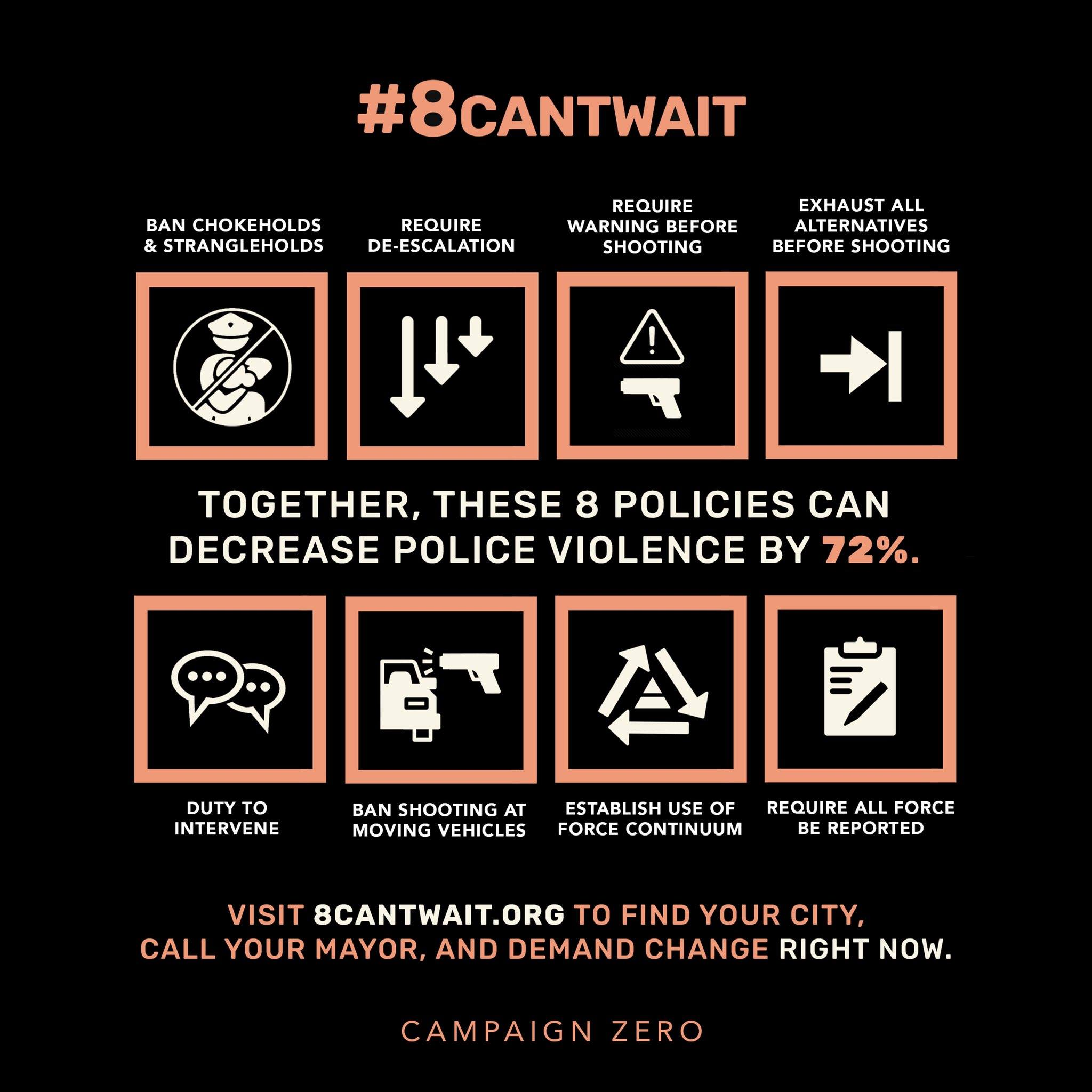 #8CANTWAIT IS A CAMPAIGN TO BRING IMMEDIATE CHANGE TO POLICE DEPARTMENTS