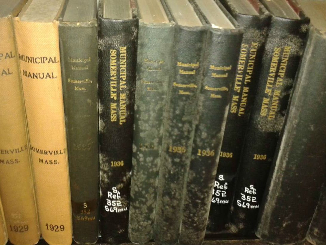 Historic books from the Central Library closed stacks that will be cleaned and preserved