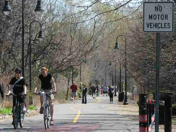 Bicyclists on Somerville Community Path