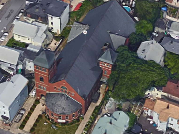 Aerial image of the historic Grace Baptist Church