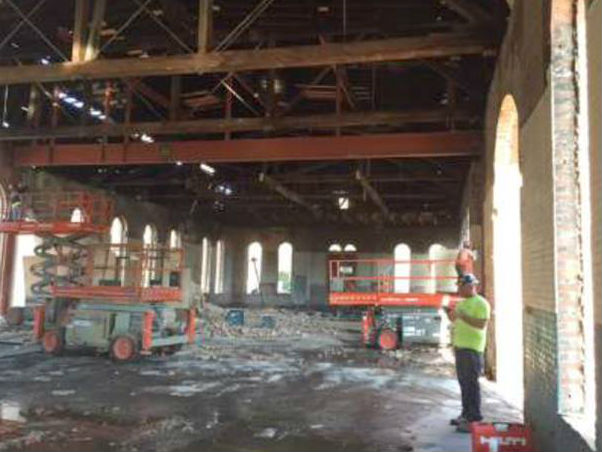 Interior of Mystic Water Works building under construction