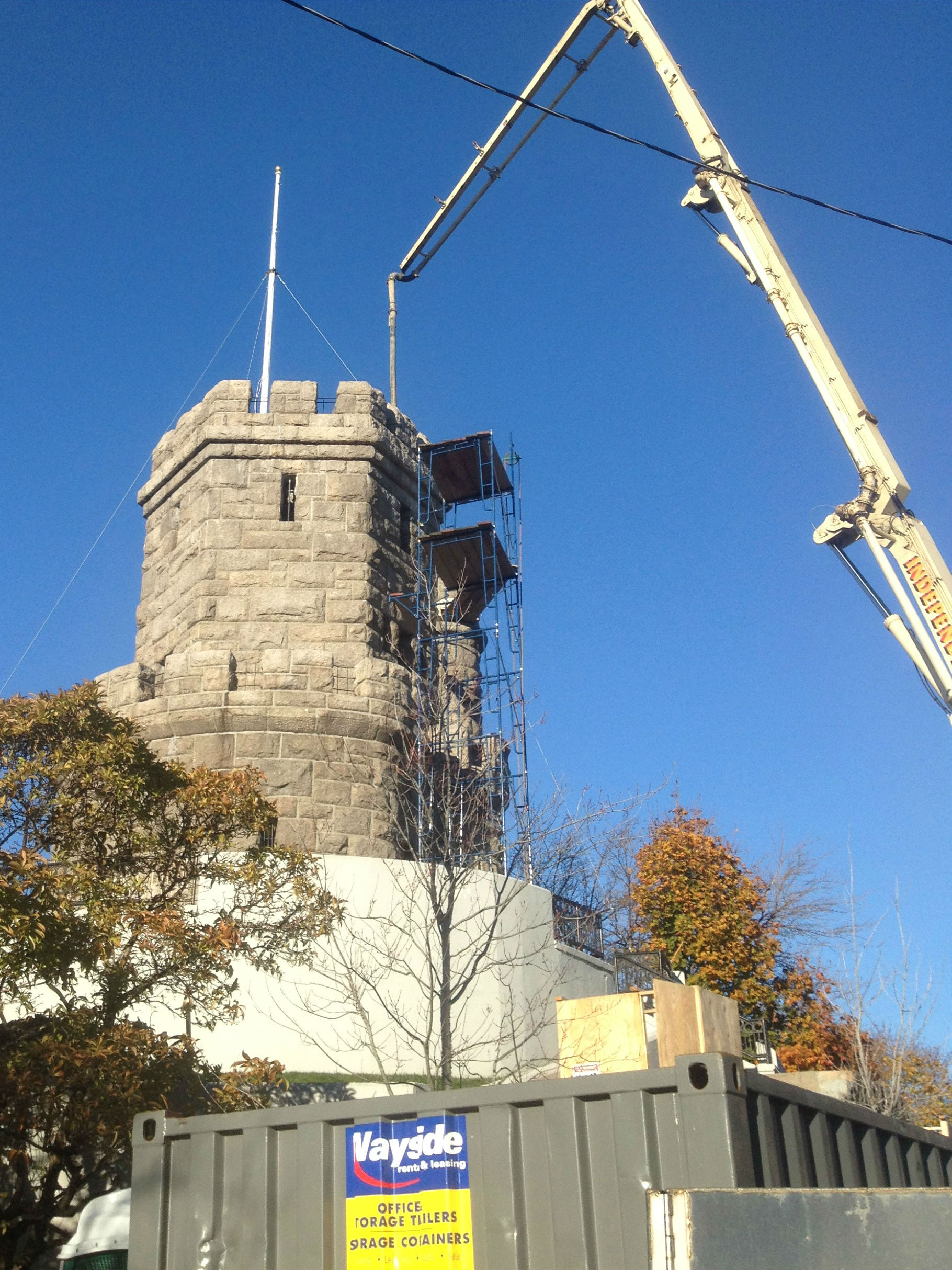 Prospect Hill Tower under construction, 2015 stabilization work