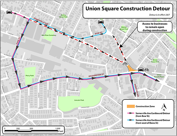 Somerville Ave Detour Map