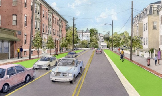 Illustration of the future of Beacon Street showing cars and pedestrians traveling together safely