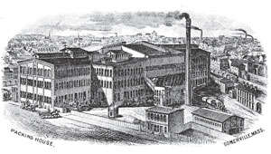 Antique sketch of the old Packing House in Somerville