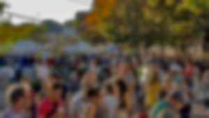 Out-of-focus image of festival-goers