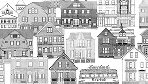 Black and white line drawings of a dozen historic houses