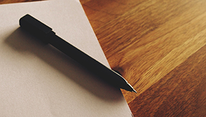 A pen sits on top of a closed file of papers