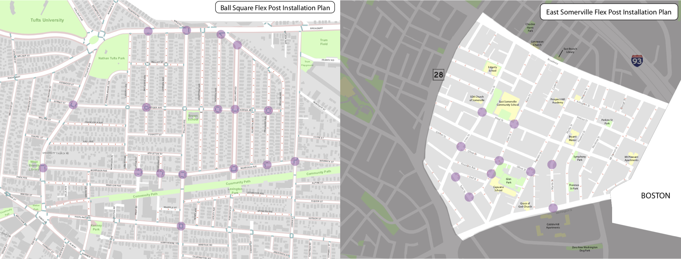 Map of flex posts installed in East Somerville and Ball Sq.