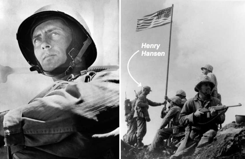 Henry Hansen stands at the raising of the US flag over Iwo Jima