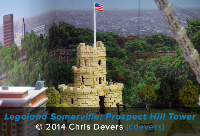 A scale model of Somerville's Prospect Hill Tower constructed from Lego sits on display at Legoland Somerville (Boston).
