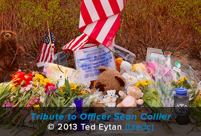 A memorial of flowers, flags, notes, and teddybears honor the memory of Officer Sean Collier
