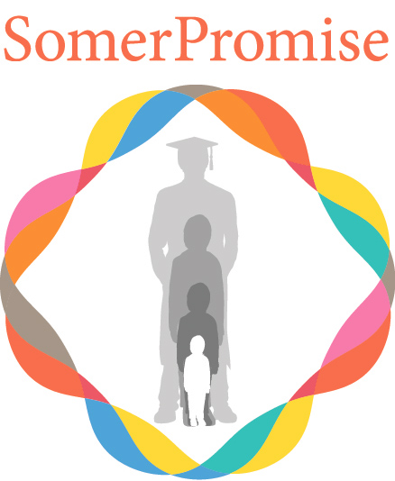 SomerPromise: Logo shows the silhouette of a person growing from a child to an adult graduate