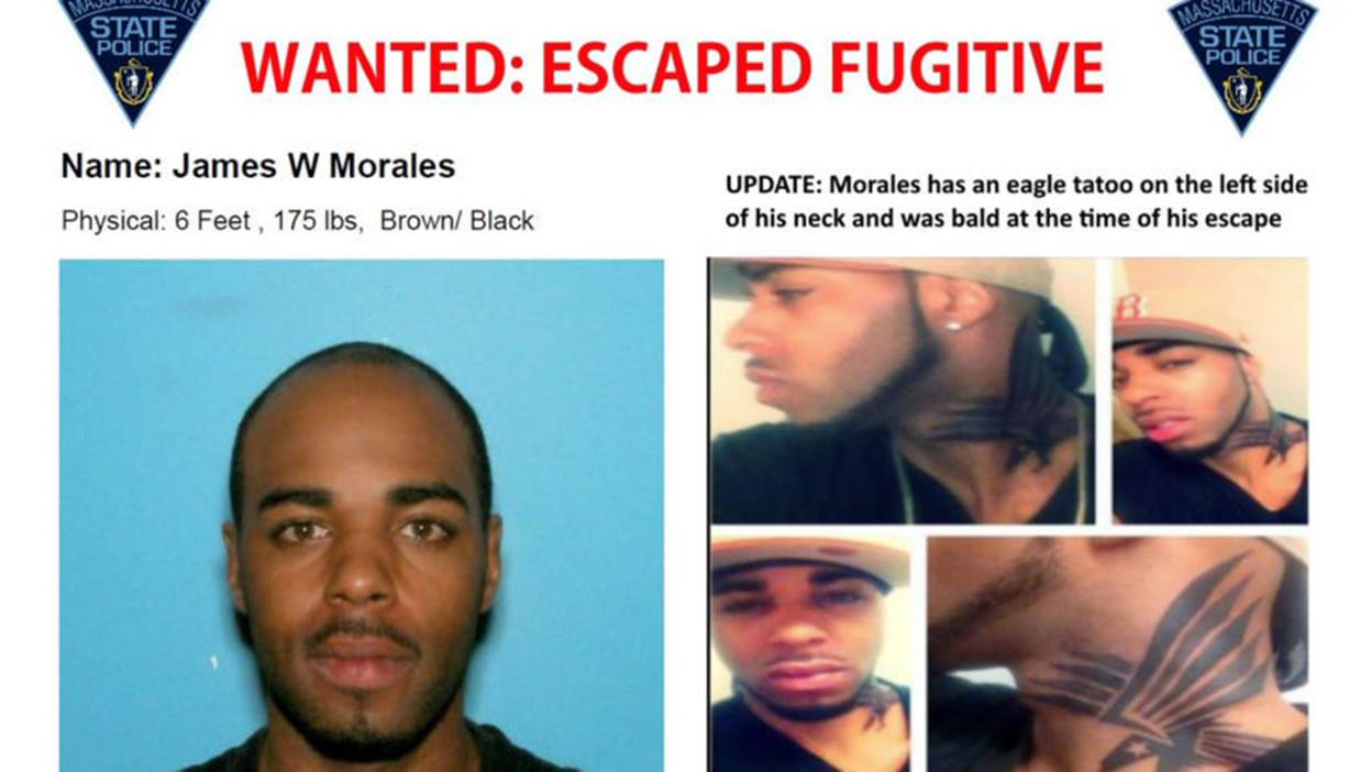 Photo of escapee James Morales, a 6', 175 pound black male with a tattoo on his neck. Last seen with a bald head and mustache.