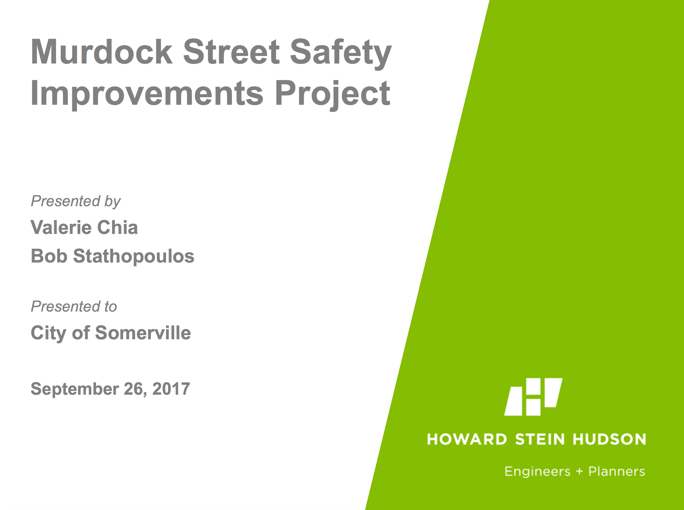 PDF preview links to a presentation on the Murdock Streetscape Improvements Project