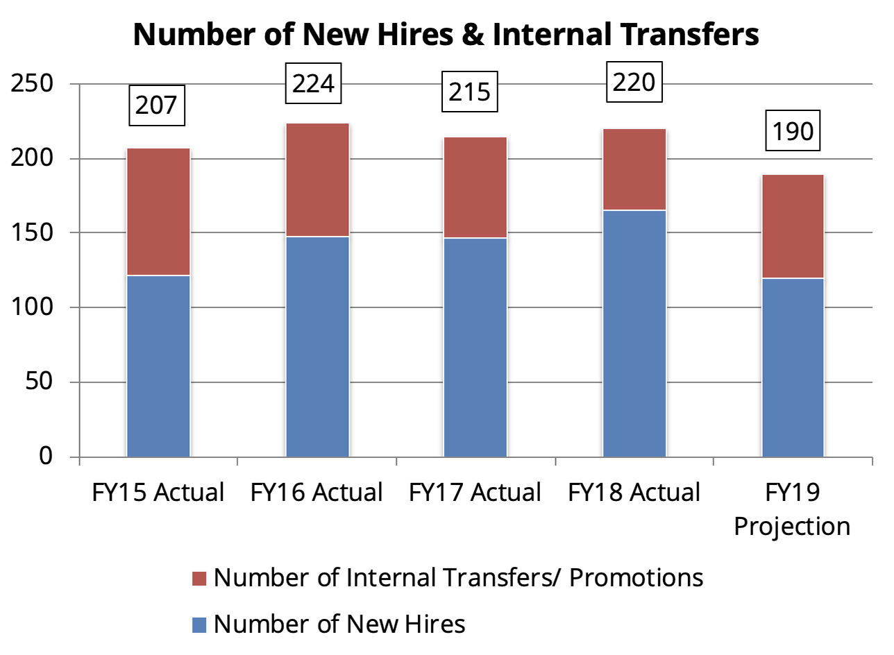New hires and internal transfers between FY15 and FY19 (proposed) average 200, with 30-40% being internal and 60-70% being hires each year.