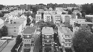 Black and white aerial photo of Somerville apartments