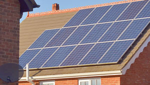 Solar panels installed on the roof of a residential home