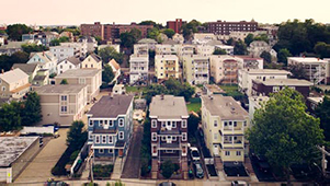 Aerial view of Somerville homes