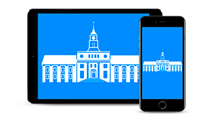 City Hall icon on a tablet and phone