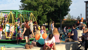 Residents enjoy City park equipment during a Mayor's Wellness Challenge event