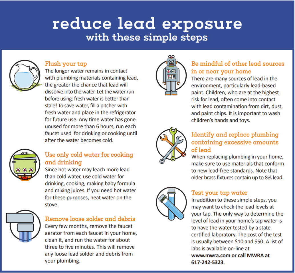 Reduce lead exposure by running the tap to flush it, using cold water, cleaning aerators, and testing/replacing plumbing.