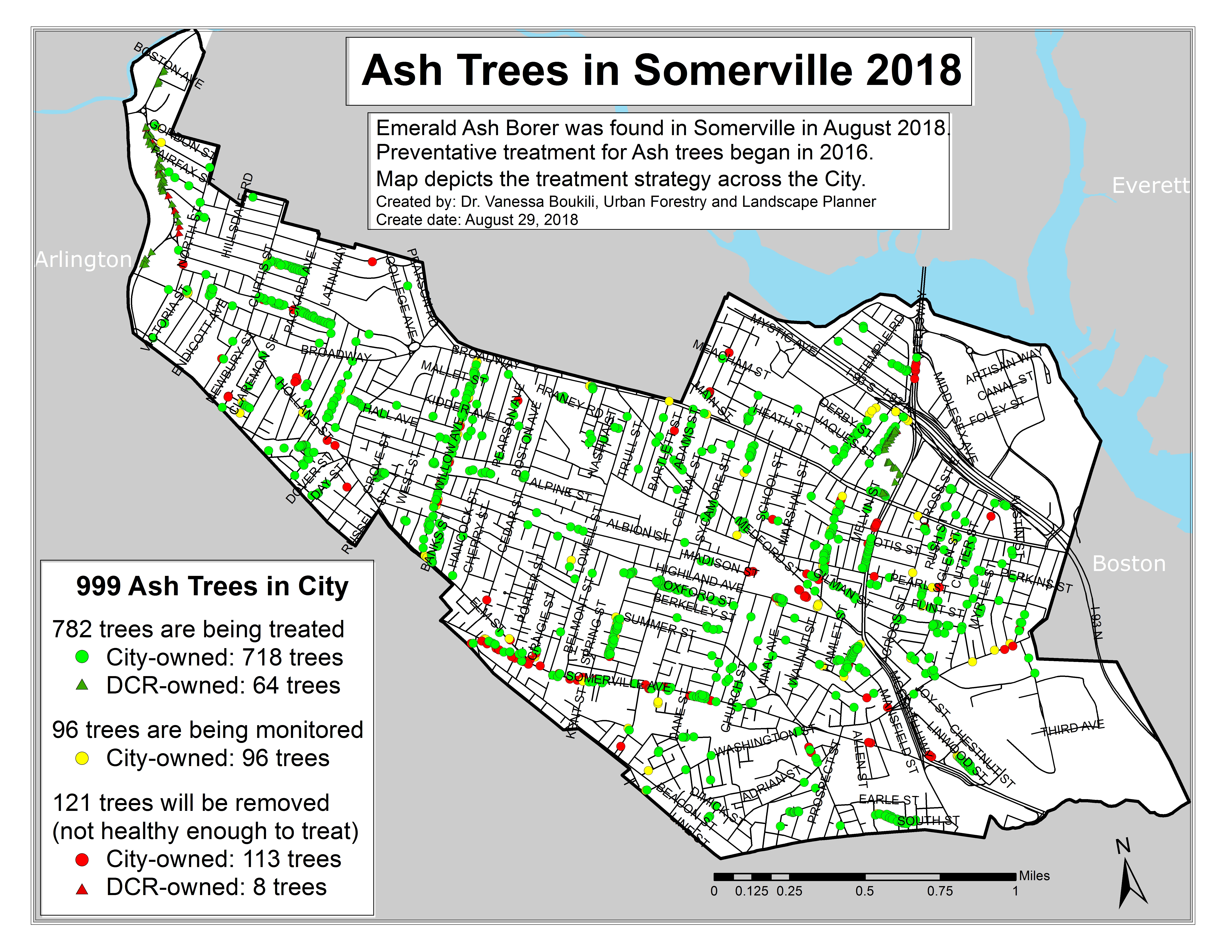 Of the 999 ash trees in the city, 782 are being treated, 96 are being monitored, and 121 are unhealthy and must be removed.