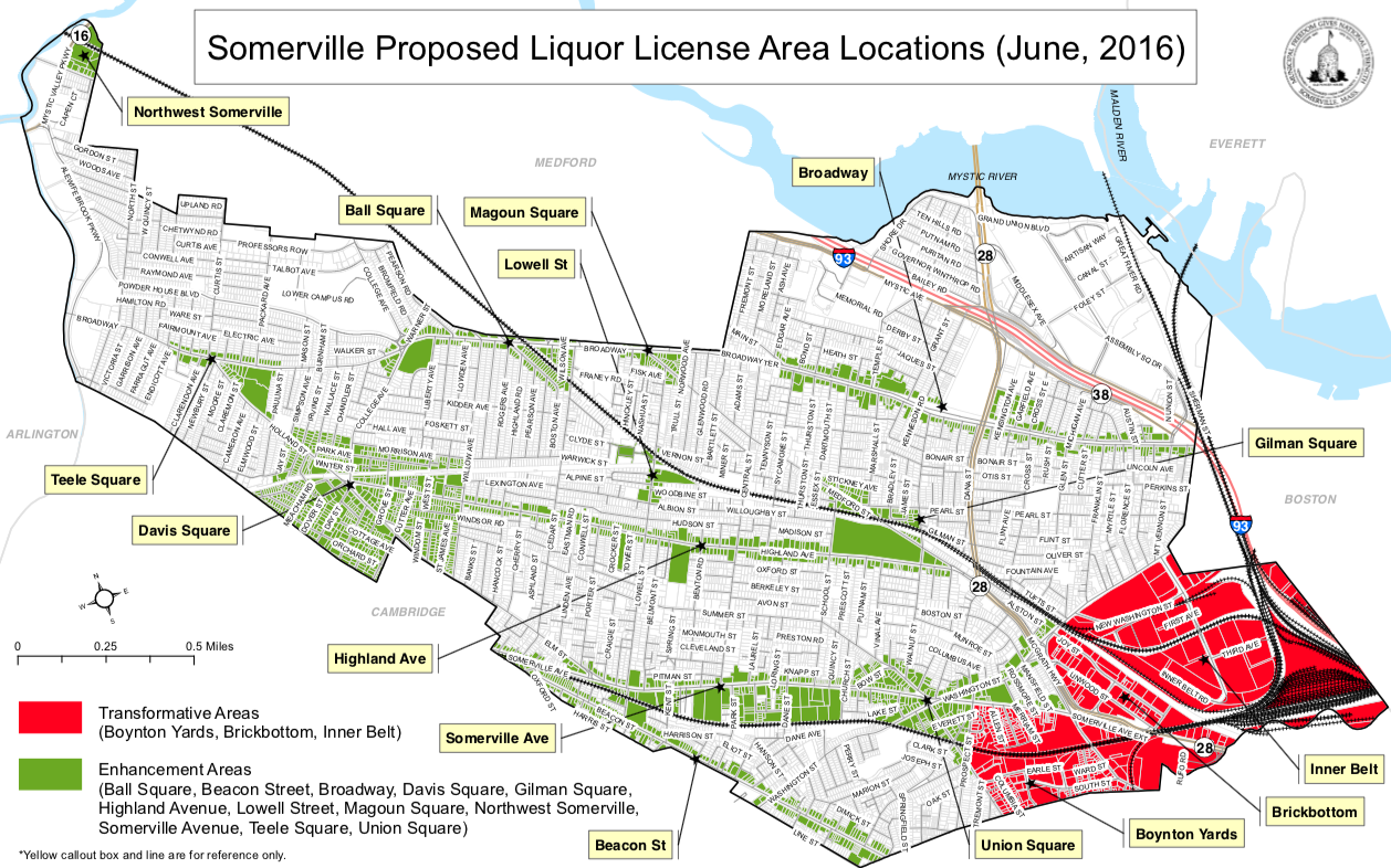 Somerville proposed liquor license area map