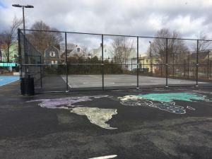 Street hockey and world map features at Healey Schoolyard