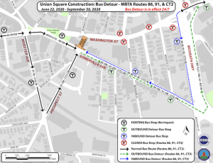 MBTA Bus Route Modifications During Detour