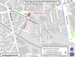 Motor vehicle detour map
