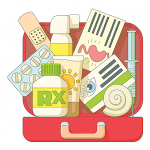 Items to keep in a preparedness kit include prescription medications, first aid essentials, toiletries, hand sanitizer, and personal health information.
