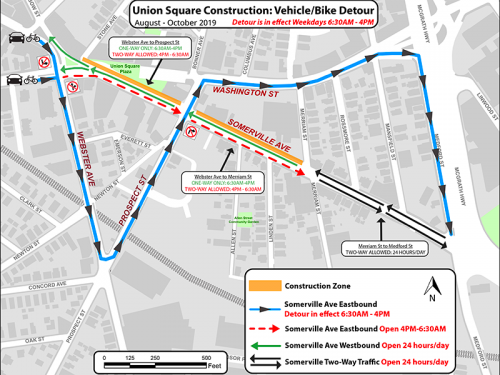 Motor vehicle and bike detour map
