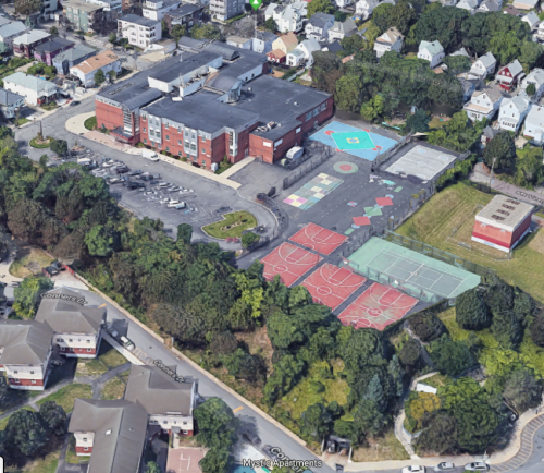 Aerial view of the Healey Schoolyard