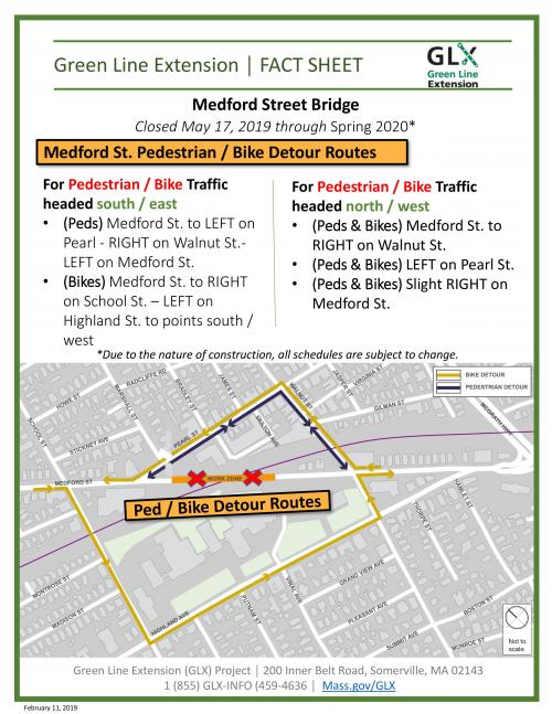 Medford St. bridge bike and pedestrian detours