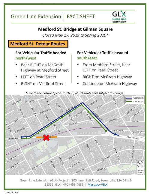 Medford St. bridge vehicle detours