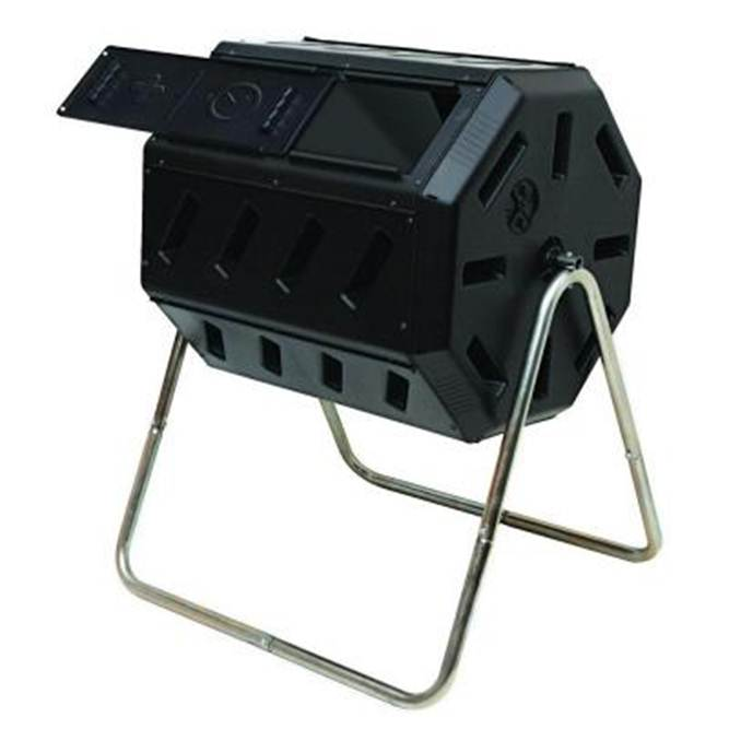 The Tumbler composter features a large compost chamber that sits on top stand legs and can be rotated (or 'tumbled') with a crank handle.