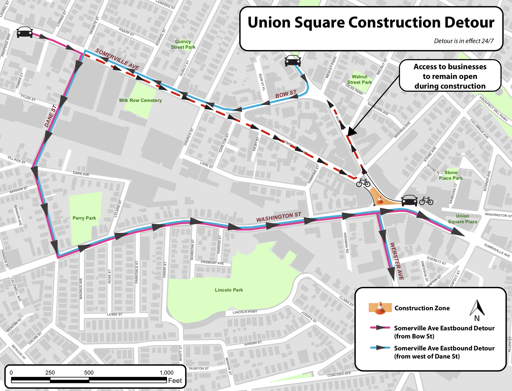 USQ construction detours for motor vehicles and bikes (refer to linked PDF)