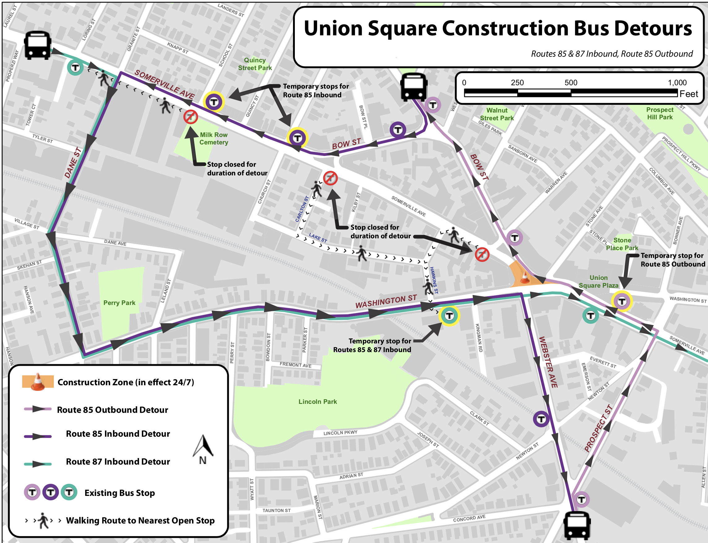 Union Square detour map