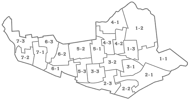 Ward and precinct map