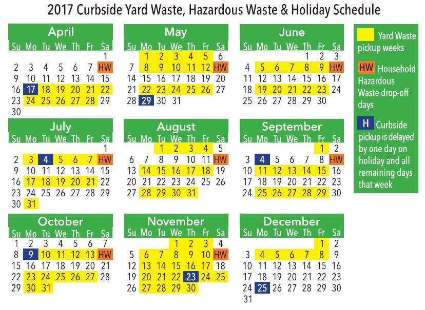 Thumbnail preview of the Yard Waste Calendar contained in the Environmental Service Guide