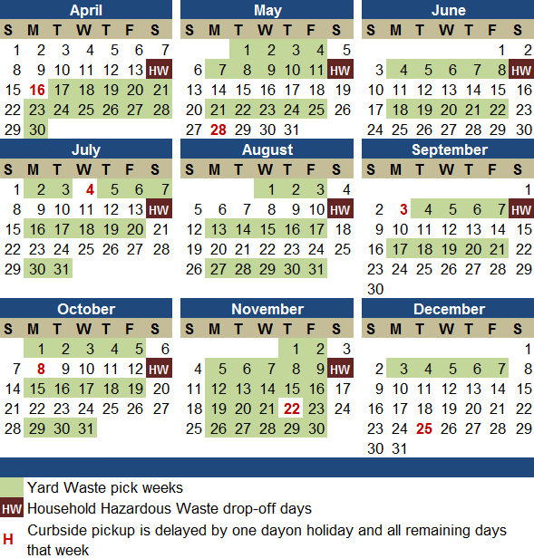 Yard waste calendar image linking to spreadsheet